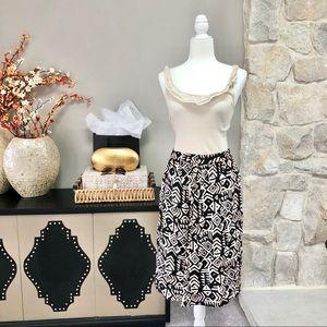 F21 Black + Ivory Tribal Print Boho Midi Skirt M